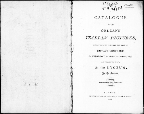 Catalogue of the Orleans' Italian pictures [...] : [vente du 26 décembre 1798]