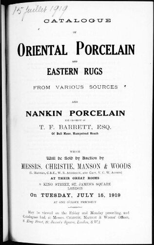 Catalogue of Oriental porcelain and Eastern rugs [...] : [vente du 15 juillet 1919]