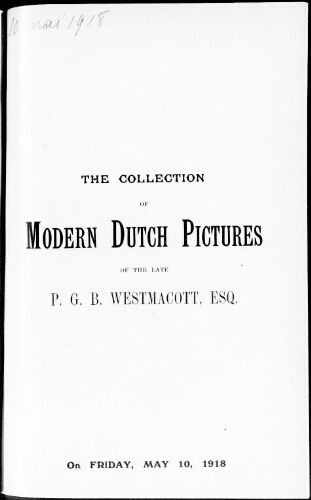 Catalogue of important modern Dutch pictures and drawings […] : [vente du 10 mai 1918]