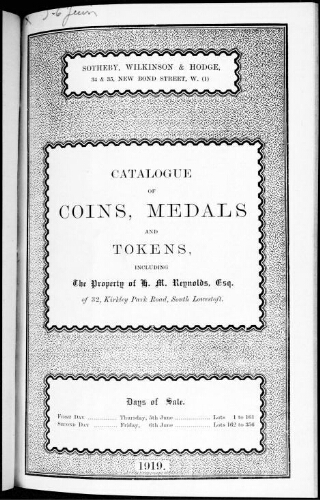 Catalogue of Greek, Roman, Anglo-Saxon and English coins [...] : [vente du 5 juin 1919]