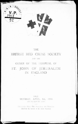 Catalogue of the collection of works of art presented to the British Red Cross society […] : [vente du 8 avril 1918]