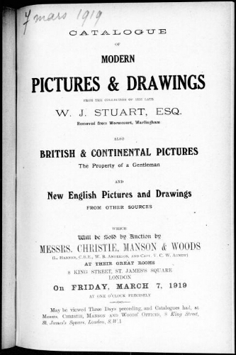 Catalogue of modern pictures and drawings [...] : [vente du 7 mars 1919]