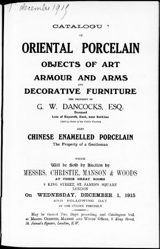 Catalogue of oriental porcelain, objects of art […] : [vente du 1er décembre 1915]