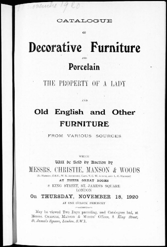 Catalogue of decorative furniture and porcelain, the property of a lady and old English and other furniture from various sources [...] : [vente du 18 novembre 1920]