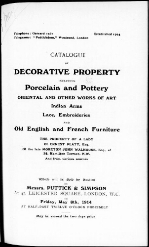 Catalogue of decorative property including property and pottery Oriental and other works of art [...] : [vente du 8 mai 1914]