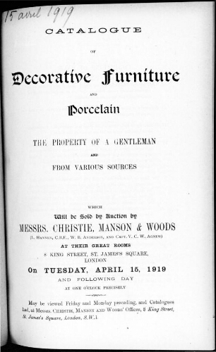 Catalogue of decorative furniture and porcelain [...] : [vente du 15 avril 1919]