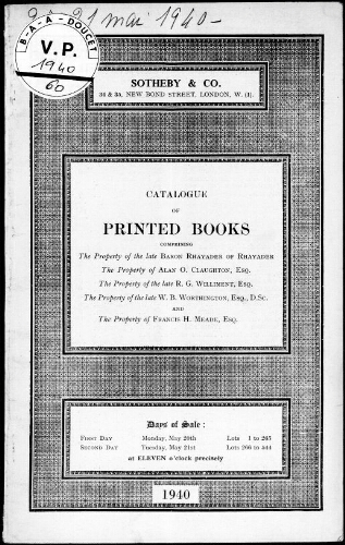 Catalogue of Printed Books [...] : [vente des 20 et 21 mai 1940]