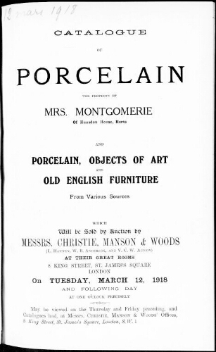 Catalogue of porcelain […] : [vente du 12 mars 1918]