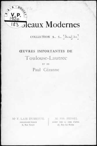 Tableaux modernes, collection S... N..., œuvres importantes de Toulouse-Lautrec et de Paul Cézanne [...] : [vente du 22 mars 1920]
