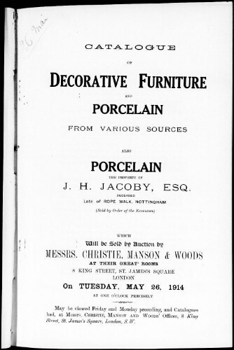 Catalogue of decorative furniture and porcelain from various sources […] : [vente du 26 mai 1914]