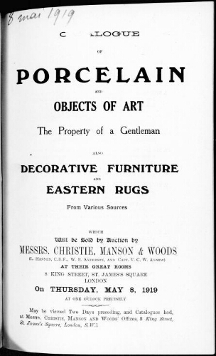 Catalogue of porcelain and objects of art [...] : [vente du 8 mai 1919]