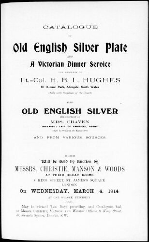 Catalogue of old English silver plate and a Victorian dinner service [...] : [vente du 4 mars 1914]