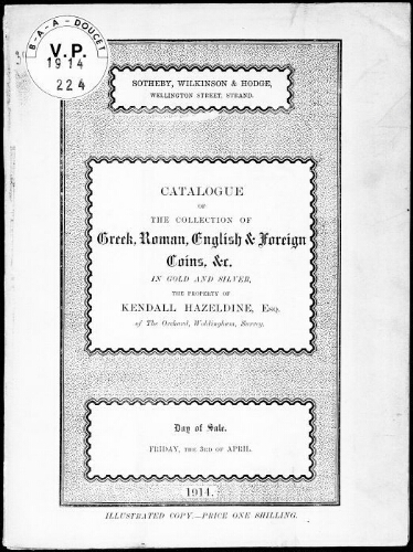 Catalogue of the collection of Greek, Roman, English and foreign coins [...] : [vente du 3 avril 1914]