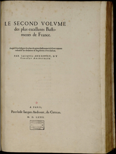 Le second volume des plus excellents bastiments de France