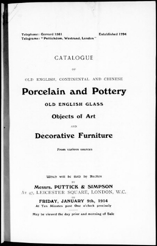 Catalogue of old English, continental and Chinese porcelain and pottery […] : [vente du 9 janvier 1914]