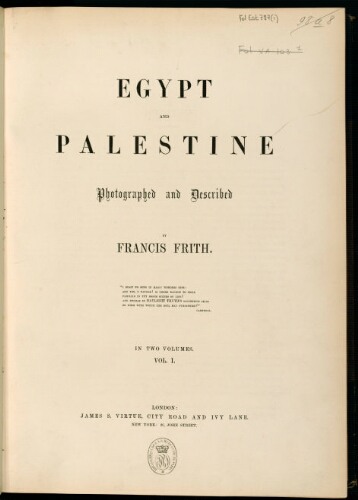 Egypt and Palestine. Volume I