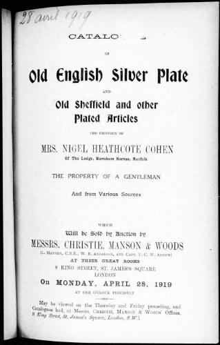 Catalogue of old English silver plate and old Sheffield and other plated articles [...] : [vente du 28 avril 1919]