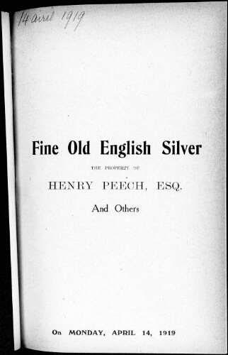 Catalogue of old English silver plate of the 16th, 17th and 18th centuries [...] : [vente du 14 avril 1919]
