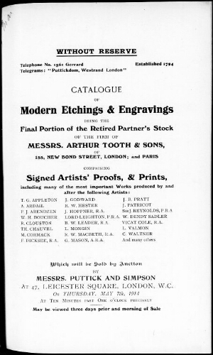 Catalogue of modern etchings and engravings [...] : [vente du 7 mai 1914]