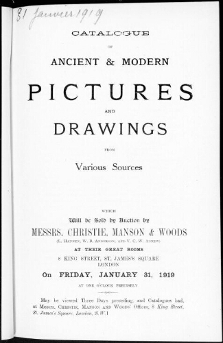 Catalogue of ancient and modern pictures and drawings [...] : [vente du 31 janvier 1919]