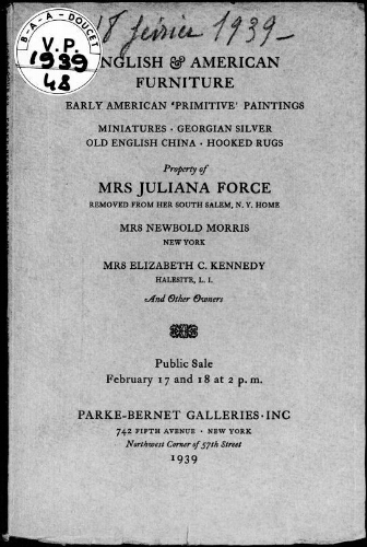 English and American furniture, early American primitive paintings […] : [vente des 17 et 18 février 1939]