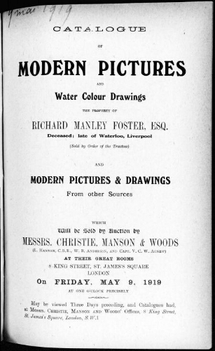 Catalogue of modern pictures and water colour drawings [...] : [vente du 9 mai 1919]