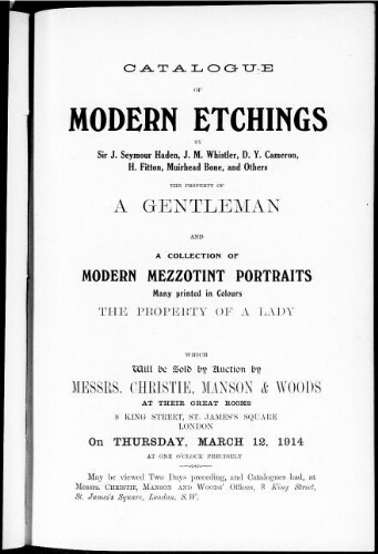 Catalogue of modern etchings [...] : [vente du 12 mars 1914]