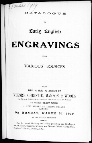 Catalogue of early English engravings [...] : [vente du 31 mars 1919]