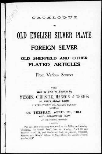 Catalogue of old English silver plate, foreign silver [...] : [vente du 21 avril 1914]