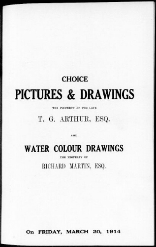 Catalogue of ancient and modern pictures and drawings [...] : [vente du 20 mars 1914]