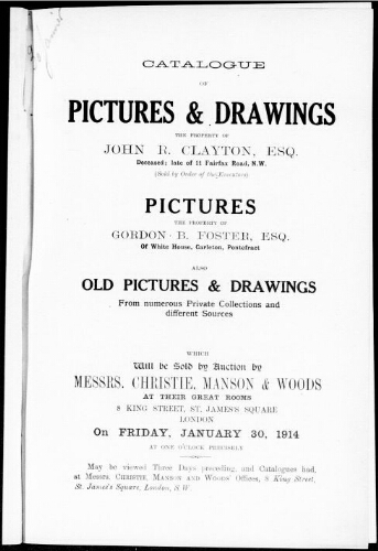 Catalogue of pictures and drawings [...] : [vente du 30 janvier 1914]