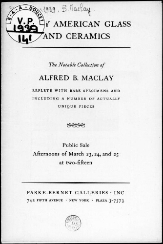 Alfred B. Maclay collection […] : [vente du 23 mars 1939]