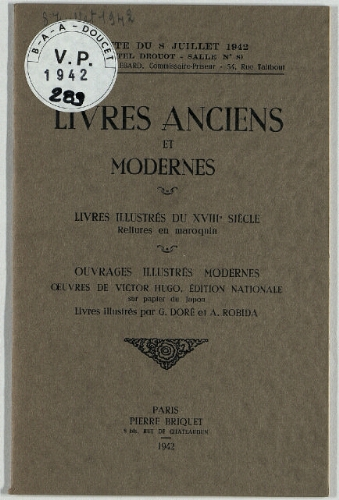 Livres Anciens Et Modernes Vente Du 8 Juillet 1942