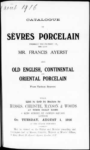 Catalogue of Sèvres porcelain […] : [vente du 1er août 1916]