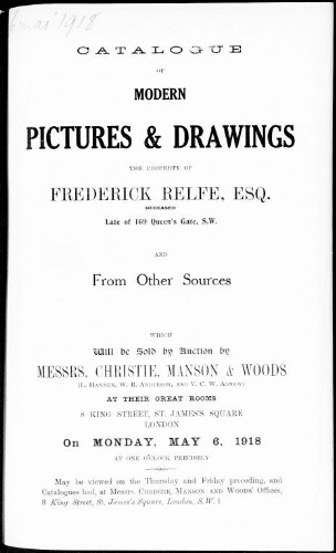 Catalogue of modern pictures and drawings […] : [vente du 6 mai 1918]
