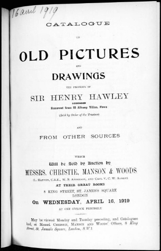 Catalogue of old pictures and drawings [...] : [vente du 16 avril 1919]