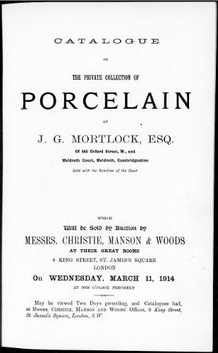 Catalogue of the private collection of porcelain of J. G. Mortlock, esq. [...] : [vente du 11 mars 1914]