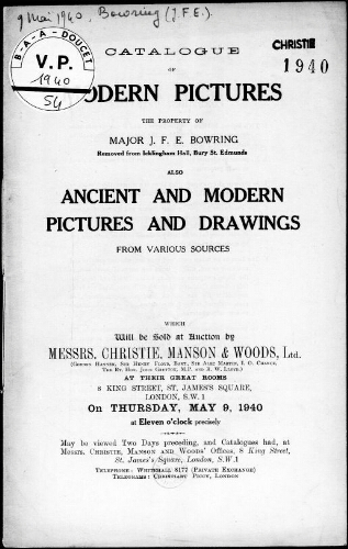 Catalogue of Modern Pictures, the Property of Major J. F. E. Bowring [...] : [vente du 9 mai 1940]
