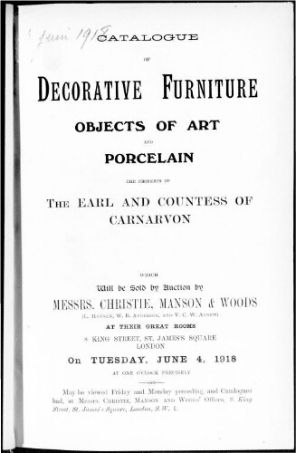 Catalogue of decorative furniture, objects of art and porcelain […] : [vente du 4 juin 1918]