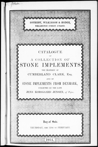 Catalogue of an interesting collection of stone implements [...] : [vente du 12 février 1914]