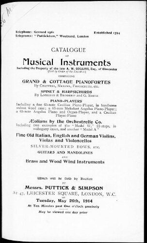 Catalogue of musical instruments […] : [vente du 26 mai 1914]