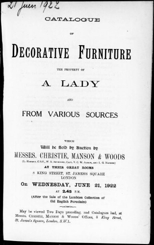 Catalogue of decorative furniture, the property of a lady and from various sources [...] : [vente du 21 juin 1922]