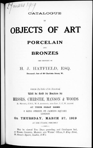 Catalogue of objects of art, porcelain and bronzes [...] : [vente du 27 mars 1919]
