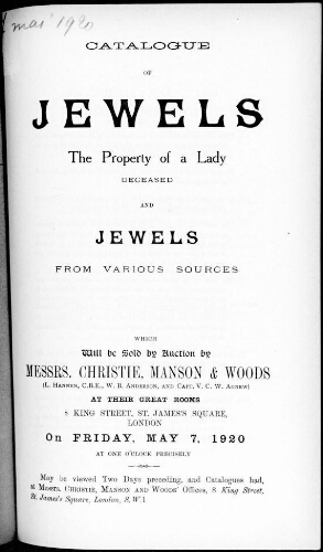 Catalogue of jewels [...] [vente du 7 mai 1920]