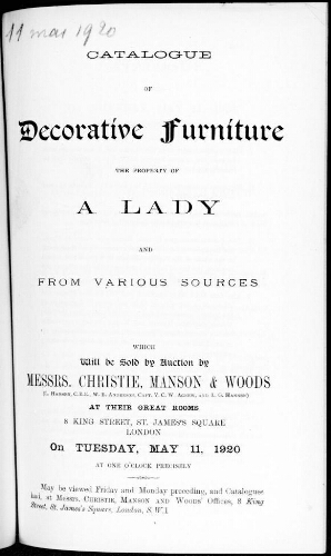 Catalogue of decorative furniture the property of a lady [...] : [vente du 11 mai 1920]