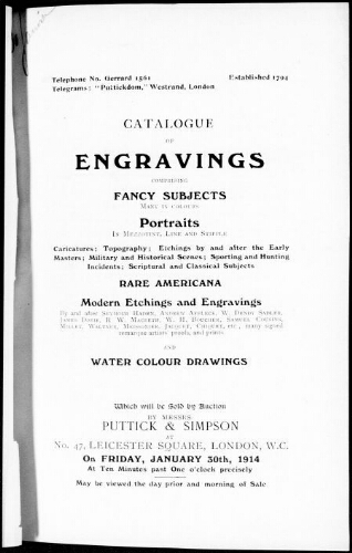 Catalogue of engravings comprising fancy subjects many in colours, portraits in mezzotint, line and stipple [...] : [vente du 30 janvier 1914]