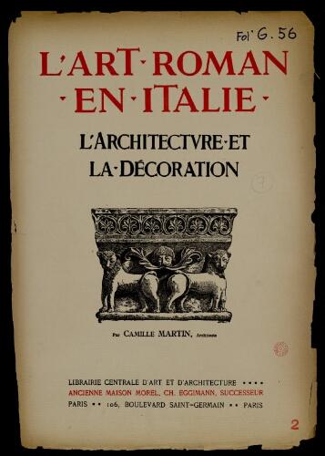 L Art Roman En Italie Tome 1