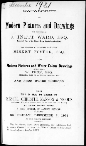 Catalogue of modern pictures and drawings, the property of J. Inett Ward, esq. [...] : [vente du 2 décembre 1921]