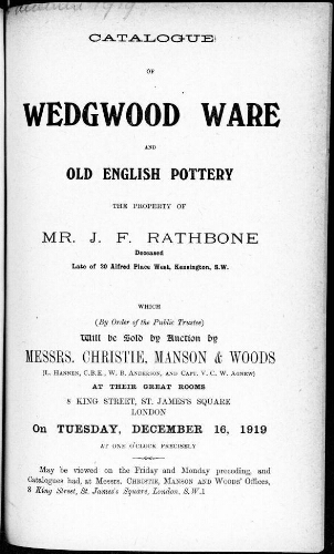 Catalogue of Wedgwood Ware and old English pottery the property of Mr. J. F. Rathbone [...] : [vente du 16 décembre 1919]