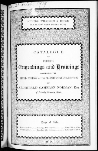 Catalogue of choice engravings and drawings […] : [vente du 20 octobre 1919]